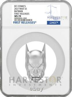 2021 DC Comics Batman Mask 2 Oz. Silver Coin Ngc Ms70 Antiqued Withogp