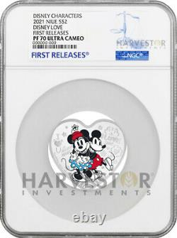 2021 Diney Love Coin Heart Shaped Coin Ngc Pf70 Premières Libérations Avecogp