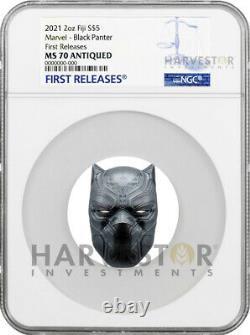 2021 Marvel Black Panther Mask 2 Oz Pièce D'argent Ngc Ms70 Antique Withogp