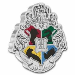 2021 Niue 1 Oz Argent 2 $ Harry Potter Hogwarts Crest Shaped Coin Sku#234996