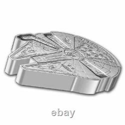 2021 Niue 1 Oz Argent $2 Star Wars Millennium Falcon Forme Pièce Sku#235511