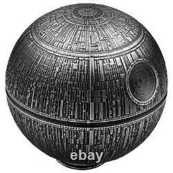 2021 Niue $100 Star Wars Death Star Sphérique 1 Kilo. 999 Pièce D'argent 299 Fabriquée