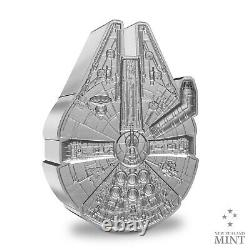 2021 Niue $2 Star Wars Millennium Falcon Façonné 1 Oz Pièce D'argent $5,000 Fabriqué