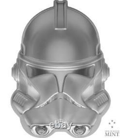 2021 Niue $5 Star Wars Casques Clone Trooper 2oz. 999 Pièce D'argent 5 000 Mintage