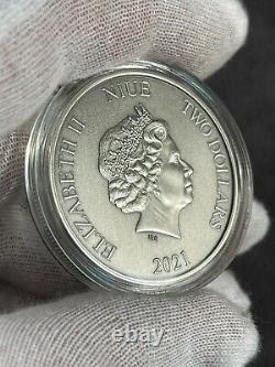 2021 Niue Batman Batmobile Collection 1966 Couleur Antiqued 1 Oz Argent Coin