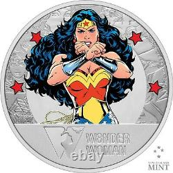 2021 Niue DC Wonder Woman 80e Anniversaire 1 Oz Pièce De Preuve En Argent 1,941 Fait