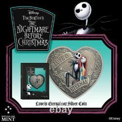 2021 Niue Le Cauchemar Avant Noël L'amour Est Éternel 1oz Argent Coeur