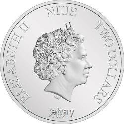 2021 Niue Seigneur Des Anneaux Gandalf Le Gris 1 Oz Pièce De Preuve Argent 3000 Fabriqué