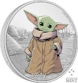 2021 Niue Star Wars Mandalorian L'enfant Bébé Yoda 1 Oz Pièce D'argent Vendu