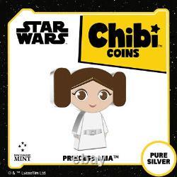 2021 Niue Star Wars Princesse Leia Chibi 1oz Pièce De Preuve En Argent Vendu