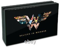 2021 Niue Wonder Woman 1 Oz Couleur Argent Preuve Pièce 80e Anniversaire