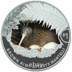 2021 Nouvelle-zélande $1 Kiwi Colorized Proof 1 Oz. 999 Pièces D'argent 2 500 Fabriqués