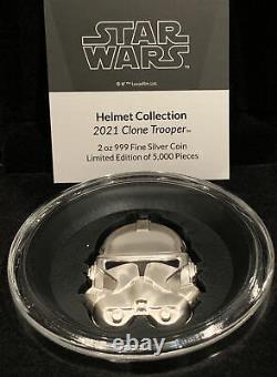 2021 Star Wars Clone Trooper Casque 2 Oz. Pièce D'argent Haut Secours Ogp Coa