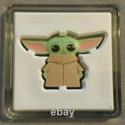 2021 Star Wars Mandalorian The Child, Bébé Yoda Grogu Chibi 1 Oz Argent $2 Pièce