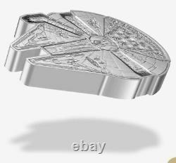 2021 Star Wars Millenium Falcon 1 Oz. Pièce De 999 En Forme D'argent Coa/ogp