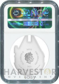 2021 Star Wars Millennium Falcon Shaped Coin Ngc Pf70 Premières Versions