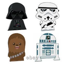4-coin Set 2020 Niue Star Wars Chibi Set Dark Vader, Chewbacca, R2d2, Trooper