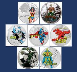 7 Set-canada Wonder Woman, Niue 60e Jla Am, Batman, Superman, Gl, Mmh, Fl, DC