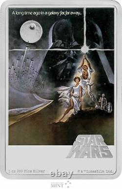 Affiche De Cinéma De Niue Star Wars 2020 New Hope 1 Oz. 999 Barre De Monnaie En Argent 1 977 Fabriqué