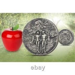 Bénin 2019 Jardin D'eden Adan Eve 5000 Francs Argent Coin 5 Oz