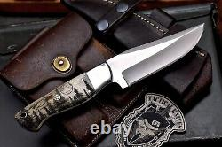 Cfk Handmade 440c Custom Wolf Forest Scrimshaw New Zealand Red Stag Antler Couteau