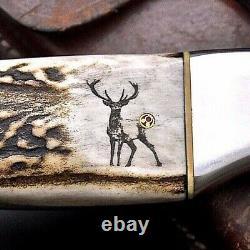 Cfk Handmade D2 Custom Elk & Deer Scrimshaw New Zealand Red Stag Antler Couteau