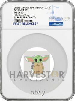 Chibi Coin Star Wars Mandalorian L'enfant Bébé Yoda Ngc Pf70 Première Libération