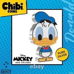 Donald Duck Chibi Coin Collection Disney Série 2021 1 Oz Silver Proof Coin Niue