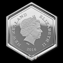 Honey Bee Hexagonal Shape 1 Oz Silver Coin 1$ Nouvelle-zélande 2016