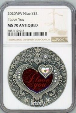 I Love You Heart Crystal 2020 Niue 2oz Argent Coin Ngc Ms 70 Antique