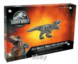 Monde Jurassique T-rex Shaped 2oz Silver Antiqued 2021 Niue $5 Coin