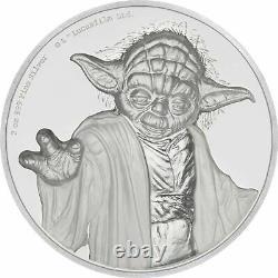 Niue 2 Oz Argent 5 $ Star Wars Yoda Ultra High Relief 2018