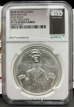 Niue 2016 $2 Star Wars Han Solo Proof 1 Oz. 999 Silver Coin Ngc Pf 70 Ucam