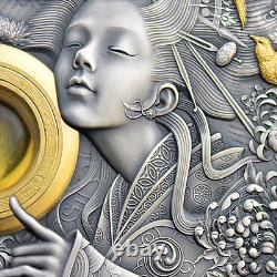 Niue 2021 Faces Divines Du Soleil Amaterasu 5 $ Pièce D'argent 3 Oz
