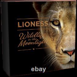 Niue 2021 Wildlife In The Moonlight Lioness 5 $ Pièce D'argent 2 Oz