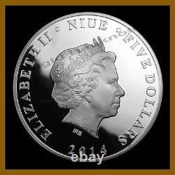 Niue 5 Dollars Silver Proof Coin 2 Oz, 2014 Batman 75e Anniversaire