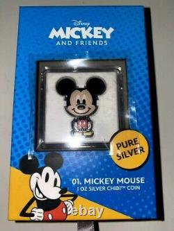Nouveau 2021 Chibi Mickey Mouse 1 Oz Silver Proof Coin (épuisé) Inhand