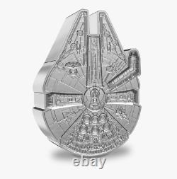 Nouveau! 2021 Star Wars Millenium Falcon 1 Oz. Pièce De 999 En Forme D'argent Coa/ogp