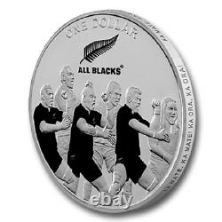 Nouvelle-zélande- 2011 1 Oz Silver Proof Coin- Rugby Haka All Blacks Rugby