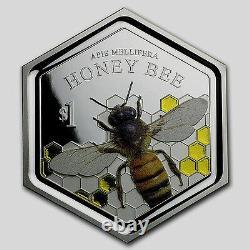 Nouvelle-zélande 2016 1 Oz Silver Proof Coin- Honey Bee Coin! Rares