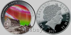 Nouvelle-zélande- 2017 1 Oz Silver Proof Coin Southern Lights Aurora Australis
