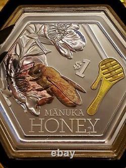 Nouvelle-zélande - 2018 1 Oz Silver Proof Pièce- Manuka Honey Bee Ships Des États-unis