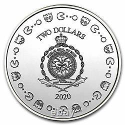 Pac-man 40e Anniversaire 2020 Niue 1 Oz Coine Silver 2 $ Ngc Ms 70 Fr Colorisé
