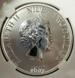 Rare 2020 Niue Retour À L'avenir 35e Anniversaire 1oz Pièce D'argent Ngc Ms70