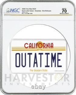 Retour Vers Future Outatime 10 Oz. Plaque De Licence De Pièce D'argent Ngc Pf70 Première Version