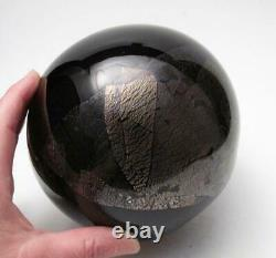 Signé Garry Nash New Zealand Art Glass Vase Gold & Silver Leaf Nz 1993