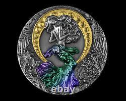 Siren Mermaid 2021 Niue 2oz $5 Silver High Relief Coin Colorisé