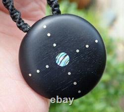 South Sea Pearl Recycled Ebony Incrusté Nz Paua Shell Silver Sun Ocean Collier