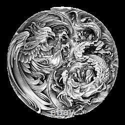 Tchad 2021 Eternal Bond Dragon Chinois Et Phoenix - Set 2 X Pièce D'argent 2oz