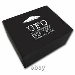 Ufo 70e Anniversaire De L'incident De Roswell 2 $ Pièce D'argent 2017 Glow Dans Le Noir